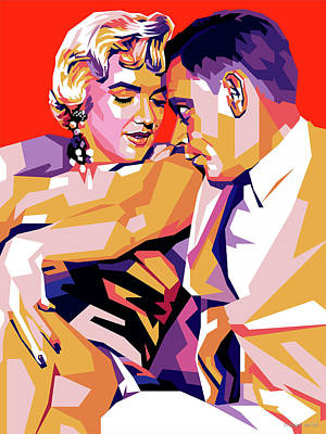 Auto Illustrations - Marilyn Monroe and Tom Ewell by Stars on Art