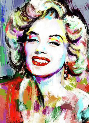 Line Drawing Quibe - Marilyn Monroe drawing by Stars on Art