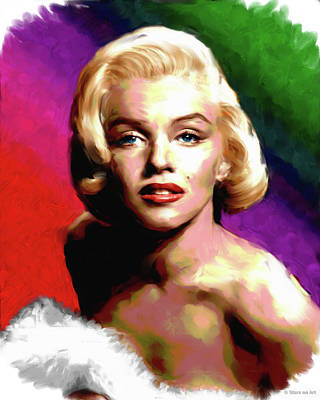 Curated Bath Towels - Marilyn Monroe painting by Stars on Art