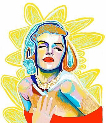Digital Art - Marilyn Ipad Portrait by Lee Wilde-Portraits