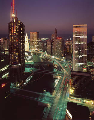 Photograph - Marina City, Wacker Drive, & The by Chicago History Museum