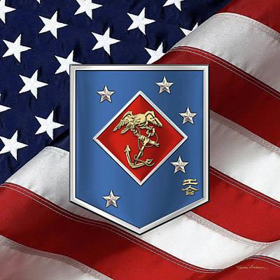 Digital Art - Marine Raider Regiment - Marine Special Operations Regiment  M S O R  Patch Over American Flag by Serge Averbukh