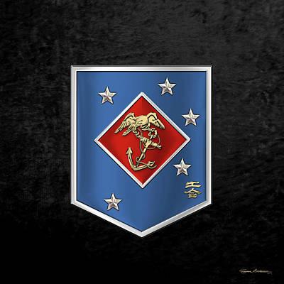 Digital Art - Marine Raider Regiment - Marine Special Operations Regiment  M S O R  Patch Over Black Velvet by Serge Averbukh