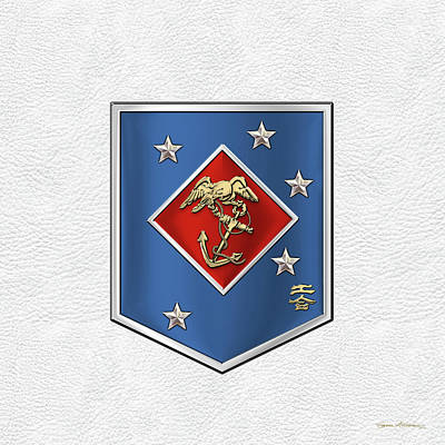 Digital Art - Marine Raider Regiment - Marine Special Operations Regiment  M S O R  Patch White Leather by Serge Averbukh