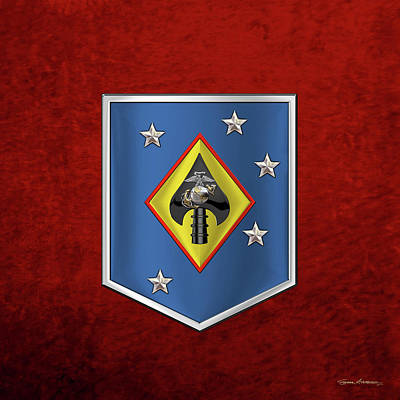 Digital Art - Marine Raider Support Group -  M R S G  Patch Over Red Velvet by Serge Averbukh