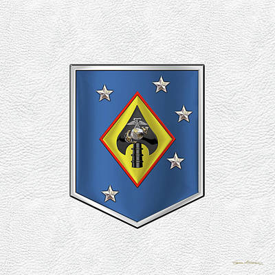 Digital Art - Marine Raider Support Group -  M R S G  Patch White Leather by Serge Averbukh