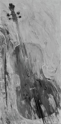 Painting - Marjorie's Cello Grayscale by Lee Bauman