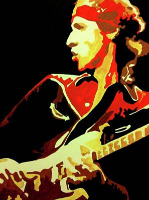 Recently Sold - Music Paintings - MARK KNOPFLER DIRE STRAITS Portrait Painting by Artista Fratta