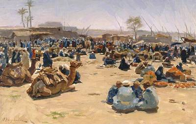 Joseph Farquharson Wall Art - Painting - Market On The Nile 1893 by Farquharson Joseph