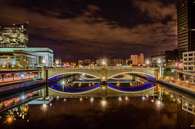 Photograph - Market Street Bidge And 30th Street Station At Night by Bill Cannon