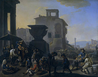 Painting - Marketplace In An Italian Town by Johannes Lingelbach