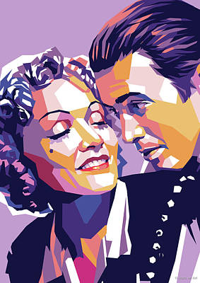 Spanish Adobe Style - Marlene Dietrich and James Stewart by Stars on Art