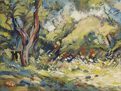 Painting - Marmari Olive Orchard Paxos by Nop Briex