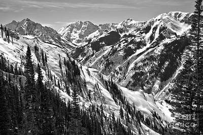 Photograph - Maroon Bells Aspen Winter Black And White by Adam Jewell