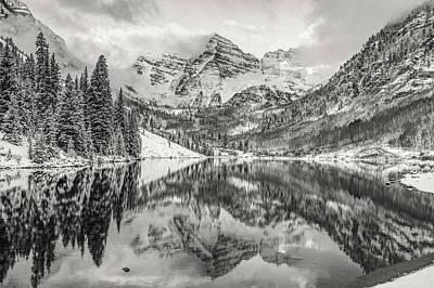 Photograph - Maroon Bells Black And White Reflections by Gregory Ballos