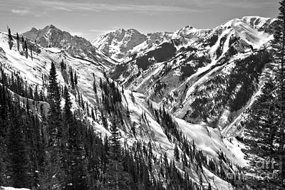 Photograph - Maroon Bells Canyon Views Black And White by Adam Jewell