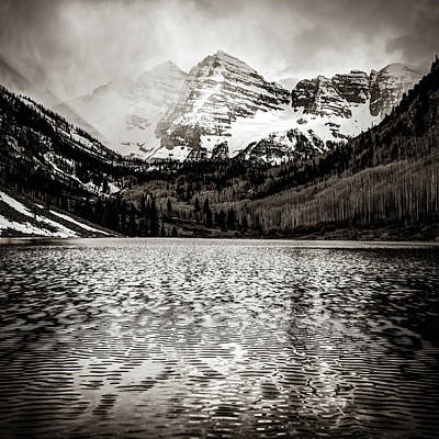 Landscapes Royalty-Free and Rights-Managed Images - Maroon Bells Colorado Mountain Landscape - Square Sepia Wall Art  by Gregory Ballos