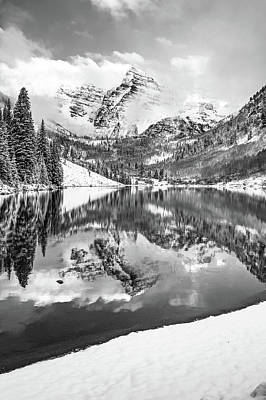 Photograph - Maroon Bells Morning Landscape - Monochrome by Gregory Ballos