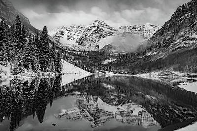 Photograph - Maroon Bells Mountain Art - Aspen Colorado Bw Landscape by Gregory Ballos