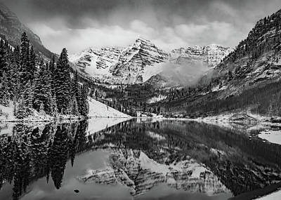 Photograph - Maroon Bells Mountain Art - Aspen Colorado Monochrome Landscape by Gregory Ballos