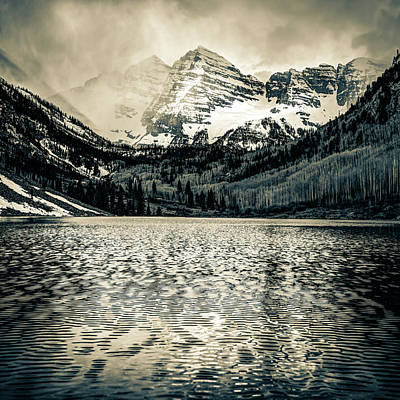 Landscapes Royalty-Free and Rights-Managed Images - Maroon Bells Mountain Landscape - Aspen Colorado Sepia by Gregory Ballos