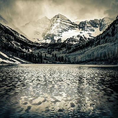 Photograph - Maroon Bells Mountain Landscape - Aspen Colorado Sepia by Gregory Ballos