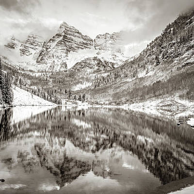 Photograph - Maroon Bells Mountain Landscape Reflections In Sepia by Gregory Ballos