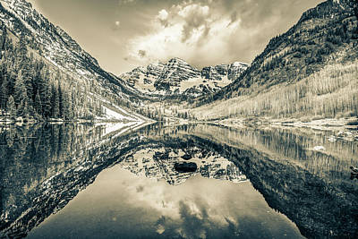 Photograph - Maroon Bells Mountain Peak Reflections - Sepia by Gregory Ballos