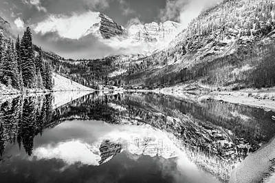 Photograph - Maroon Bells Mountain Peaks In Monochrome by Gregory Ballos