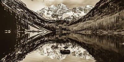 Photograph - Maroon Bells Mountain Peaks Sepia Landscape - Aspen Colorado by Gregory Ballos