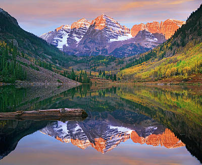Scenery Photograph - Maroon Bells Peaks Reflected In Maroon by Tim Fitzharris/ Minden Pictures