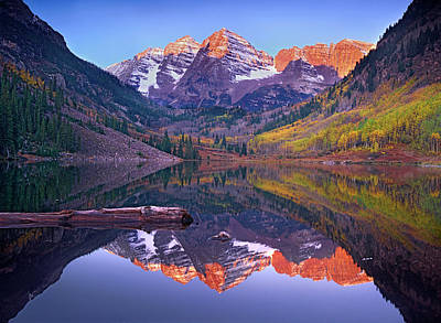 Photograph - Maroon Bells Reflected In Maroon Bells by Tim Fitzharris/ Minden Pictures