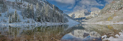 Art Print featuring the photograph Maroon Bells Reflection In The Maroon Lake With Fresh Snow Aspen Colorado Usa. by OLena Art Brand
