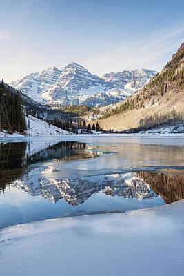 Photograph - Maroon Bells Reflection Winter by Nathan Bush