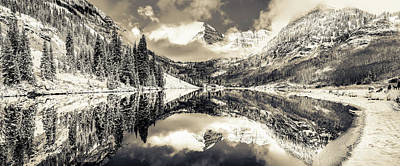 Photograph - Maroon Bells Sepia Panoramic Mountain Landscape by Gregory Ballos