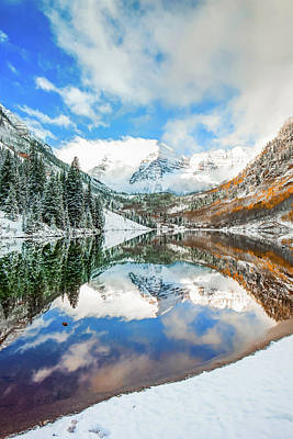 Photograph - Maroon Bells Snowy Aspen Mountain Landscape by Gregory Ballos