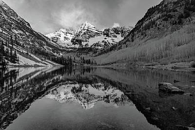 Photograph - Maroon Bells Sunrise Monochrome - Aspen Colorado by Gregory Ballos