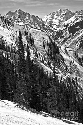 Photograph - Maroon Bells Winter Portrait Black And White by Adam Jewell