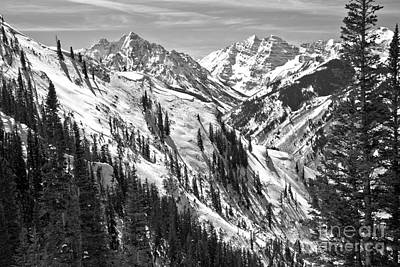 Photograph - Maroon Bells Winter Scene Black And White by Adam Jewell