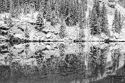 Photograph - Maroon Lake Winter Reflections - Aspen Colorado Monochrome by Gregory Ballos