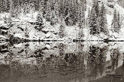 Photograph - Maroon Lake Winter Reflections - Aspen Colorado Sepia by Gregory Ballos