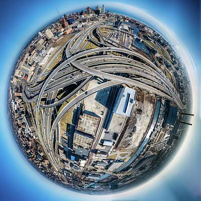 Photograph - Marquette Interchange Little Planet by Randy Scherkenbach