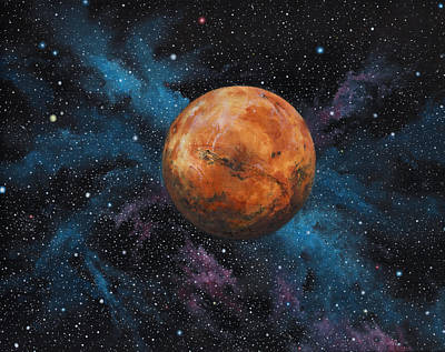 Science Fiction Painting - Mars And Stars by Michael Zawacki
