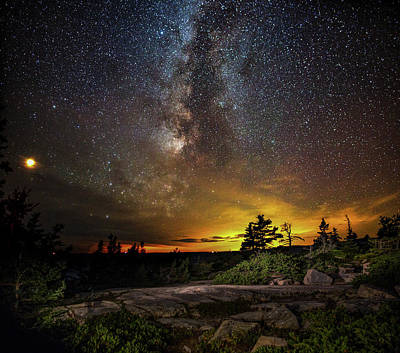 Photograph - Mars And The Milky Way Over Schoodic by Brent L Ander