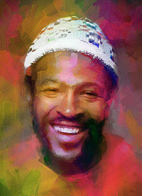 Musicians Mixed Media Royalty Free Images - Marvin Gaye, Prince of Soul Royalty-Free Image by Mal Bray
