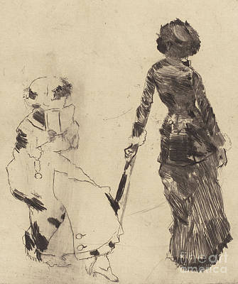 Drawing - Mary Cassatt At The Louvre  The Etruscan Gallery by Edgar Degas