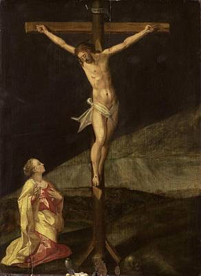 Painting - Mary Magdalene At The Foot Of The Cross, Ca 1610 by Anonymous