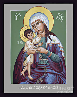 Painting - Mary, Undoer Of Knots - Rltan by Br Robert Lentz OFM