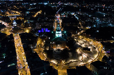 Photograph - Maryland State House Night by Mid Atlantic Aerial