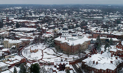 Photograph - Maryland State House Winter Snow by Mid Atlantic Aerial